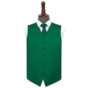 Emerald Green Plain Satin Hochzeit Weste & Krawatte Set