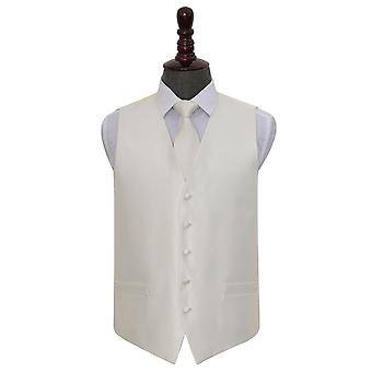 Ivory Solid Check Wedding Waistcoat & Tie Set