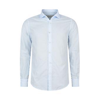 Fabio Giovanni Venosa Shirt - Mens High Quality Luxurious Italian Linen & Cotton with Soft Cutaway Collar Blue Shirt