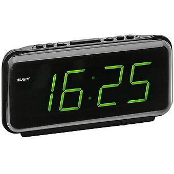 Atlanta 197/7 alarm clock power clock digital black green with snooze digital alarm clock