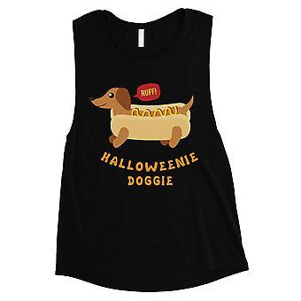 Halloweenie Doggie Womens Black Muscle Shirt