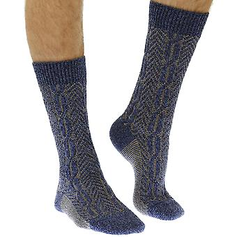 The Brimham warm men's wool boot sock in denim | By Scott-Nichol