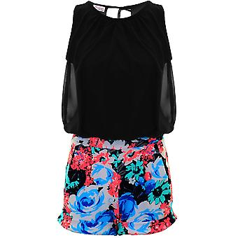 Ladies Sleeveless Chiffon Lined Tie Back Floral Turn Up Hem Romper Playsuit