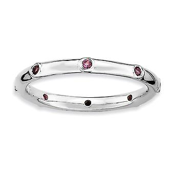 925 Sterling Silver Bezel Polished Rhodium-plated Stackable Expressions Rhodolite Garnet Ring - Ring Size: 5 to 10