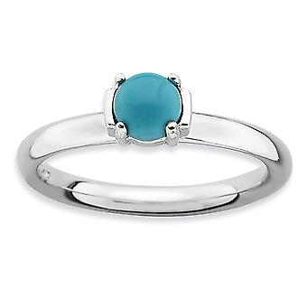 2.5mm Sterling Silver Prong set Rhodium-plated Stackable Expressions Polished Simulated Turquoise Ring - Ring Size: 5 to
