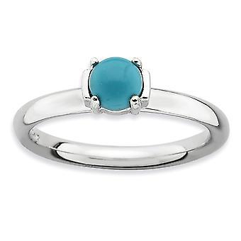 2.5mm zilver Prong set Rhodium-plated stapelbare expressies gepolijst gesimuleerd Turquoise Ring - Ringmaat: 5 tot