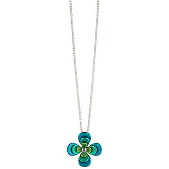 Ti2 Titanium Triple Four Petal Flower Pendant - Green