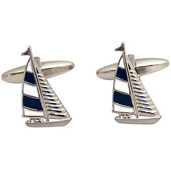 Zennor zeilboot Manchetknopen - blauw/wit/zilver