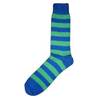 Bassin und braun gestreift Midcalf Socken - Grün/Blau