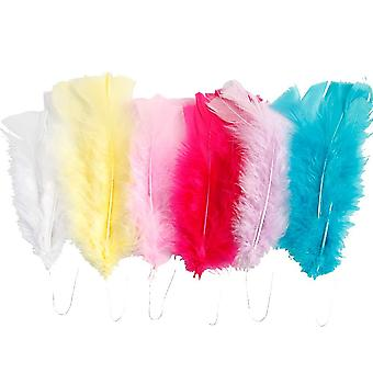 18 Assorted Colour Wired Feather Bundles for Crafts - Spring Colours