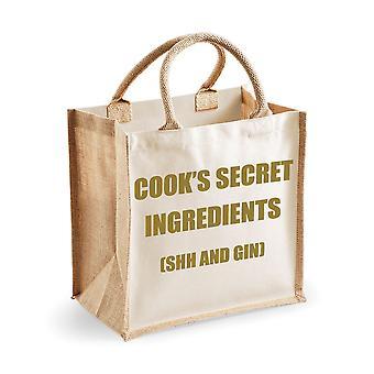 Medium Natural Gold Jute Bag Cook's Secret Ingredients (Shh and Gin)