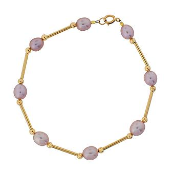 TOC 9ct Yellow Gold Lilac/Purple Oval Freshwater Cultured Pearl Bracelet 8