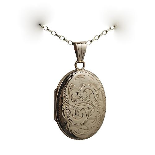 9ct Gold 27x20mm hand engraved oval Locket with a belcher Chain 16 inches Only Suitable for Children
