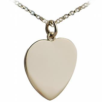 9ct Gold 24x21mm plain Heart disc with belcher Chain 16 inches Only Suitable for Children