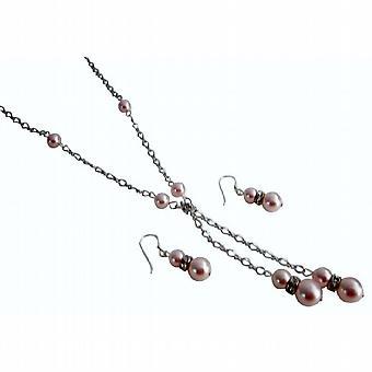 Rosaline parels Lariat ketting met bijpassende oorbellen-sieraden