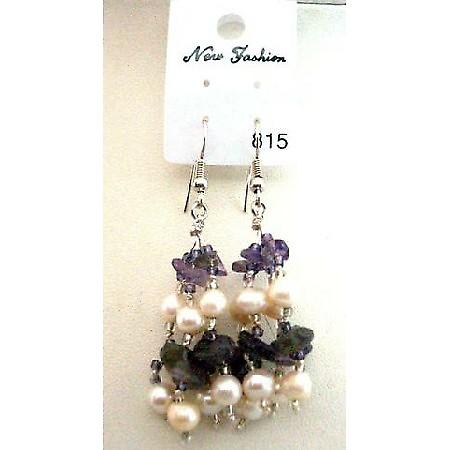 Amethyst Stone Beads & Freshwater Pearl Glass Beads Dangling Earrings