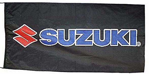 Large Suzuki flag (black bgrd) 1500mm x 900mm (obof)