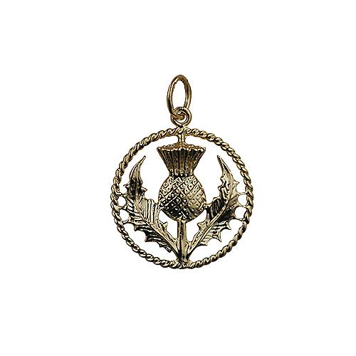 9ct Gold 19mm Scottish Thistle Pendant with a twisted wire surround