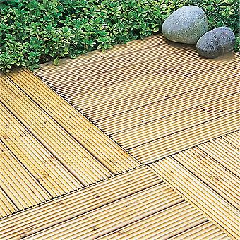Forest Garden Wooden Patio Deck Tiles 90x90cm Pack of 4