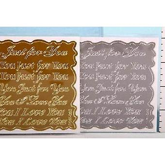 Art-Craft Gold/Silver Craft Stickers - I Love You / Just For You - 4 Sheets