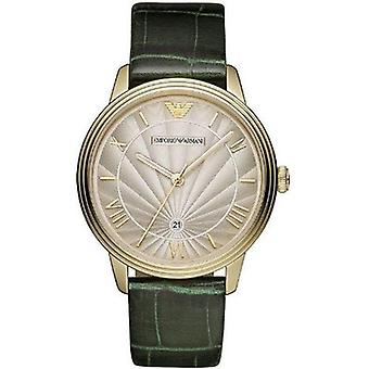 Emporio Armani Ar1718 Mens Retro Green Croc Leather Strap Watch