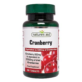 Natures Aid Cranberry 200mg (equivalent to 5000mg of fresh cranberries), 90 Tablets. Suitable for Vegans.