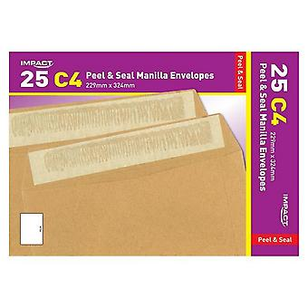 Impact C4 Peel And Seal Manilla Envelopes (Pack Of 25)