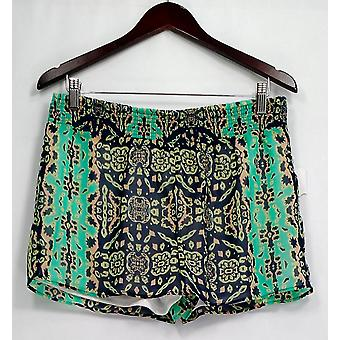Romeo & Juliet Couture Shorts Printed Smocked Fully Lined Green