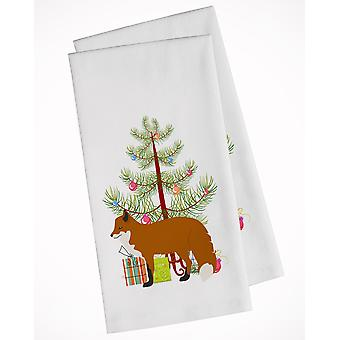 Carolines Treasures  BB9243WTKT Red Fox Christmas White Kitchen Towel Set of 2