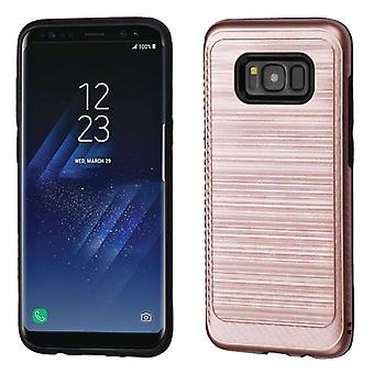 ASMYNA Rose Gold/Black Brushed Hybrid Case(w/ Carbon Fiber Accent) for Galaxy S8 Plus
