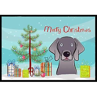 Christmas Tree and Weimaraner Indoor or Outdoor Mat 18x27 BB1603MAT