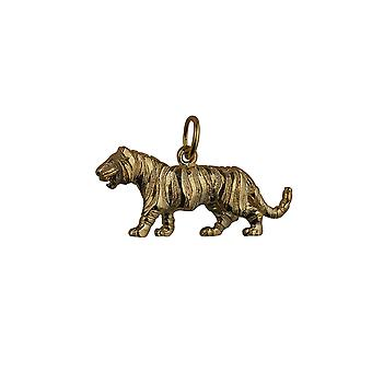 9ct Gold 12x27mm Tiger Pendant or Charm