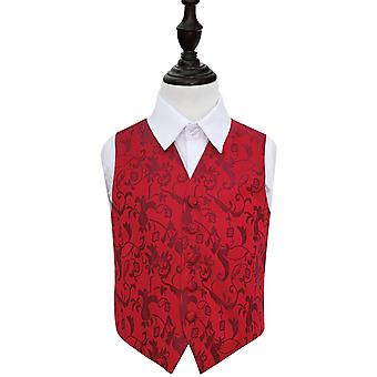 Boy's Burgundy Passion Floral Patterned Wedding Waistcoat