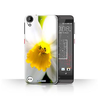 STUFF4 Case/Cover for HTC Desire 630/White Flower/Floral Garden Flowers