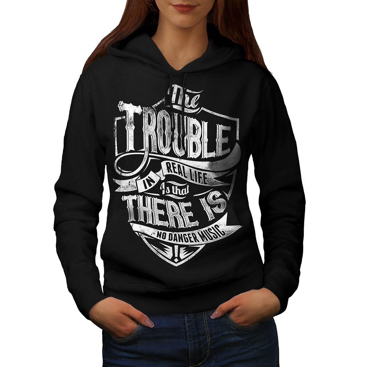Trouble Real Life Slogan Women Black Hoodie | Wellcoda