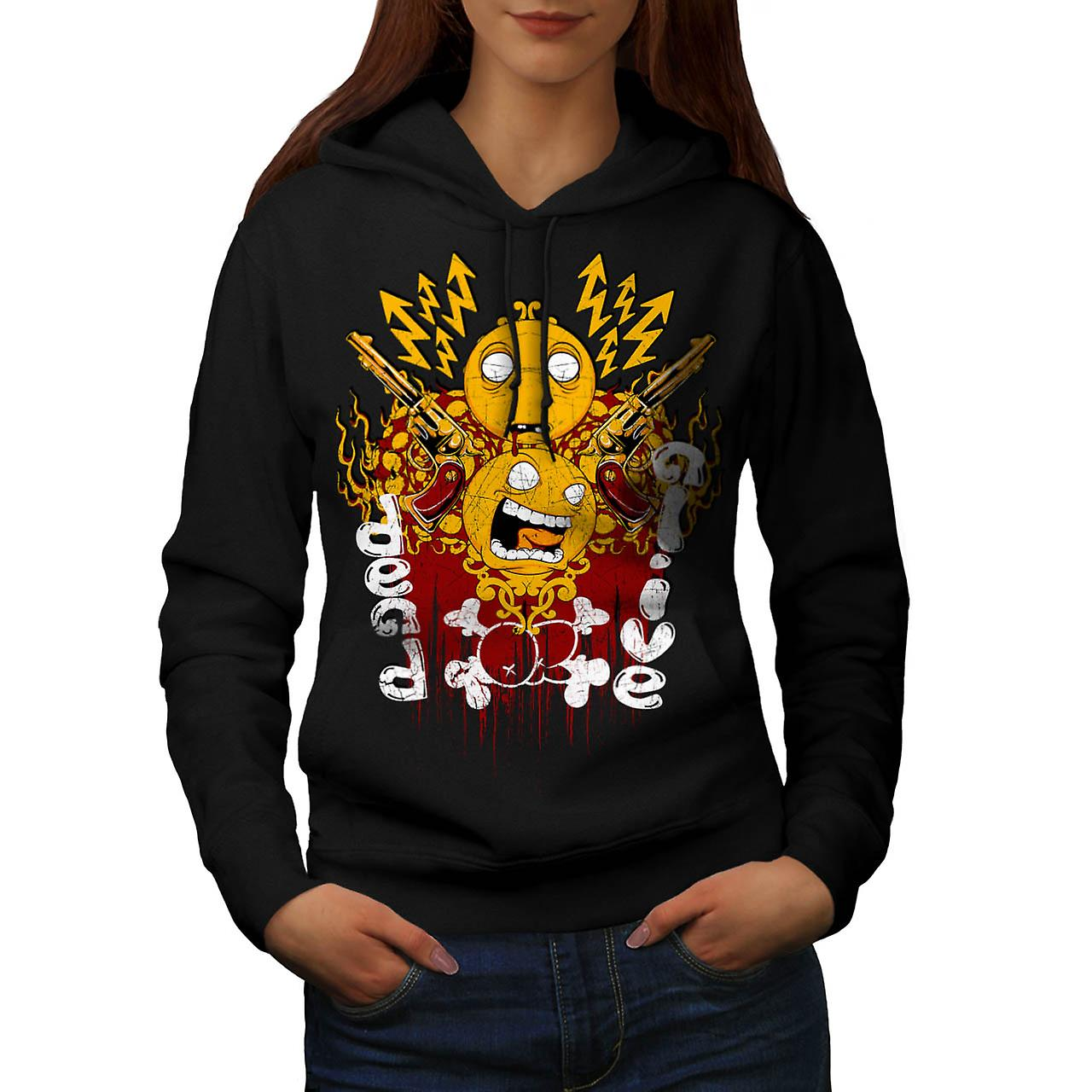 Dead Or Alive Face Smiley Gun Women Black Hoodie | Wellcoda