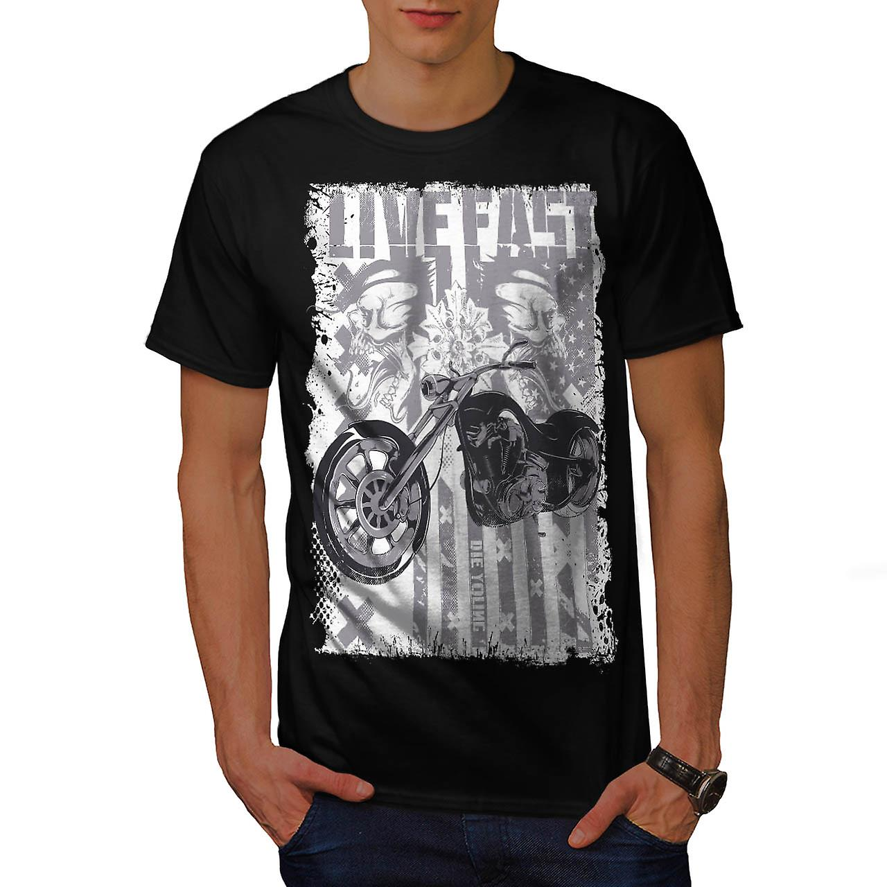 Live Fast USA Flag Biker Die Young Men Black T-shirt | Wellcoda