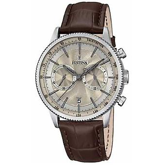 Festina Chronograph Mens Brown Leather Watch Strap quadrante Beige F16893/7