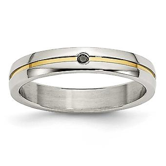 Stainless Steel Polished Yellow Ip-plated .025pt. Diamond 4mm Band Ring - Ring Size: 6 to 12