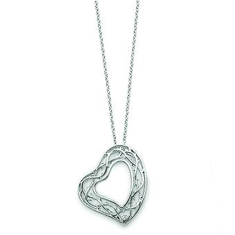 Sterling Silver Heart Necklace - 3.7 Grams - 18 Inch