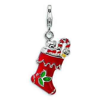Sterling Silver 3-D Red Enameled Holiday Stocking With Lobster Clasp Charm - Measures 32x10mm