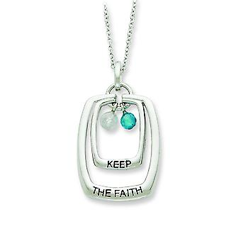 Sterling Silver Antiqued CZ hålla The Faith 18 tum halsband