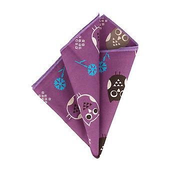 Snobbop handkerchief Hanky Cavalier cloth owls and flowers purple