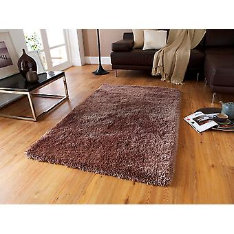 Heavyweight Shiny Quality Light Brown Shaggy Rug - Geneva