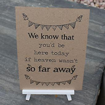 Wedding / Occasion Sign 'Can't be with us' card and easel Brown kraft rustic