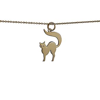 9ct Gold 17x18mm Cat Pendant with a cable Chain 16 inches Only Suitable for Children