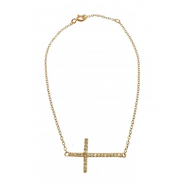 W.A.T 925 Sterling Sterling Silver Gold Plated Dainty Crystal Cross Bracelet