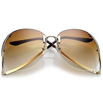 Women's Rimless Curved Metal Arms Round Tinted Lens Oversize Sunglasses 67mm