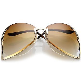 Damen Randlos geschwungene Metall Arme übergroße Sonnenbrille Runde getönte Objektiv 67mm
