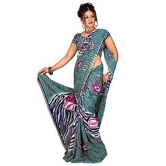 Bimala Georgette gedruckt Casual Sari Sari Bauchtanz Stoff